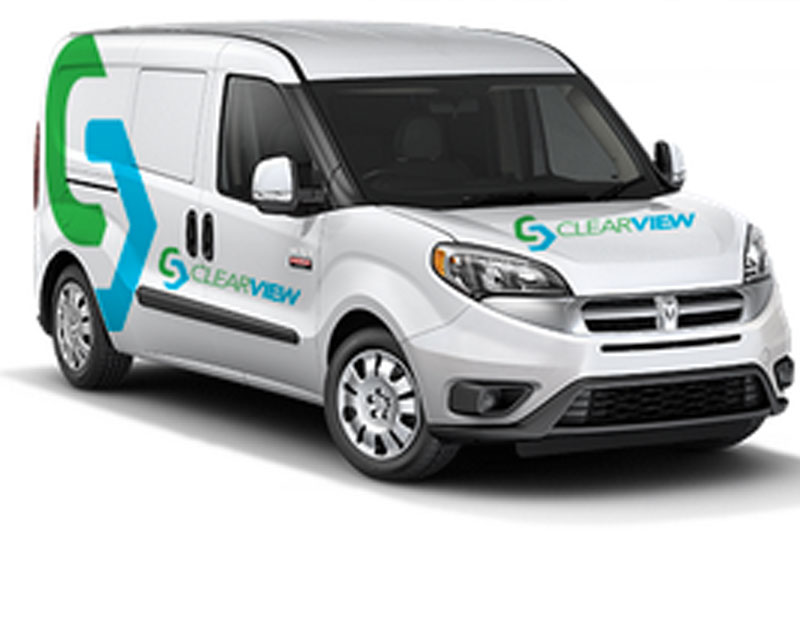 Drive Group, LLC Web Design Company ClearView Security and Surveillance Logo, Branding and Business Card Designs